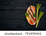 sandwich with sprats  and... | Shutterstock . vector #791959441