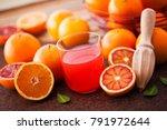 glass of fresh orange juice...   Shutterstock . vector #791972644
