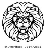 an angry lion sports animal... | Shutterstock . vector #791972881