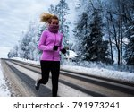 blondie female running outside... | Shutterstock . vector #791973241