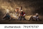 Three cowboys outdoor camping and boiling coffee - stock photo