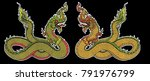 hand drawn thai dragon on water ... | Shutterstock .eps vector #791976799