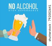 no alcohol vector. hand offers... | Shutterstock .eps vector #792002641