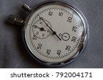 stopwatch  on white denim... | Shutterstock . vector #792004171