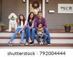 family with children and pet... | Shutterstock . vector #792004444