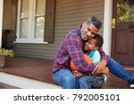 father and son discussing... | Shutterstock . vector #792005101