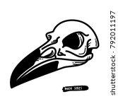 raven skull t shirt design.... | Shutterstock .eps vector #792011197