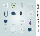 icon set about connectors... | Shutterstock .eps vector #792011641