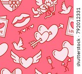 valentines day seamless pattern.... | Shutterstock .eps vector #792012331