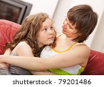 loving mother and her daughter... | Shutterstock . vector #79201486