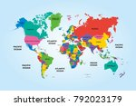 colorful world political map... | Shutterstock .eps vector #792023179