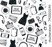 vector online shopping seamless ... | Shutterstock .eps vector #792023194