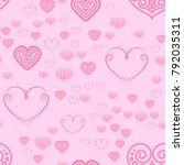 valentines day seamless pattern ... | Shutterstock . vector #792035311