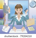 A busy successful business woman multitasking in the office. - stock photo