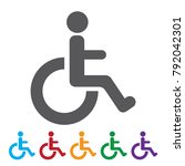 disabled people icon. disabled... | Shutterstock .eps vector #792042301