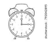 retro alarm clock. hand drawn... | Shutterstock . vector #792042895