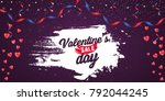happy valentine's day red... | Shutterstock .eps vector #792044245