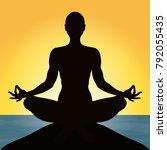 yoga  figure of a man sitting... | Shutterstock .eps vector #792055435
