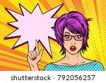 pop art woman wow red hair... | Shutterstock .eps vector #792056257