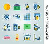 icon set about travel. with car ... | Shutterstock .eps vector #792059749
