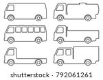 set of silhouettes the cargo... | Shutterstock .eps vector #792061261