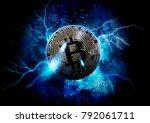 gold bitcoin coin. bitcoin... | Shutterstock . vector #792061711