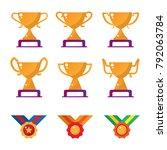 trophy achievement medal set | Shutterstock .eps vector #792063784