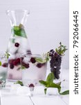 fruit and herb infused water.... | Shutterstock . vector #792066445