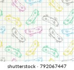 handrawn skateboard color... | Shutterstock .eps vector #792067447