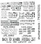 set of school hand drawn doodle