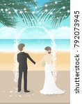wedding day on the beach with... | Shutterstock .eps vector #792073945