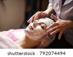 woman getting facial care... | Shutterstock . vector #792074494