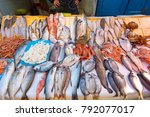 real fish market and fresh fish ... | Shutterstock . vector #792077017