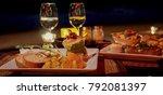 romantic dinner on the beach ... | Shutterstock . vector #792081397