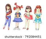 girls with objects | Shutterstock . vector #792084451