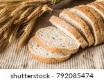 fresh sliced bran bread on the... | Shutterstock . vector #792085474