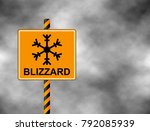 winter warning sign shows... | Shutterstock .eps vector #792085939
