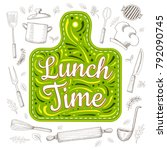 food poster print lettering.... | Shutterstock .eps vector #792090745