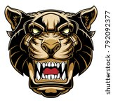 angry puma head. vector... | Shutterstock .eps vector #792092377