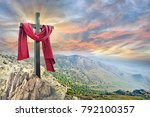 cross with red cloth against... | Shutterstock . vector #792100357