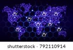 world map with glowing dots and ... | Shutterstock . vector #792110914