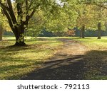 This is a backlit early fall scene of a walking path in a park. - stock photo