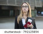 portrait of stressed business... | Shutterstock . vector #792125854