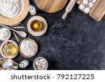 flay lay with arranged bread... | Shutterstock . vector #792127225