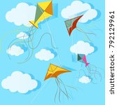 colorful kites and clouds on a... | Shutterstock .eps vector #792129961