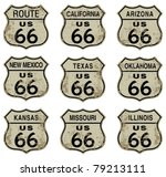 route 66 highway signs.   Shutterstock .eps vector #79213111