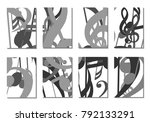 musical covers. set of 8 music... | Shutterstock .eps vector #792133291