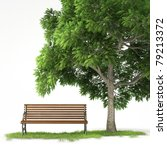 Bench Under A Tree Isolated On...