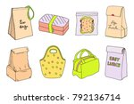 lunch boxes and lunch bags set. ... | Shutterstock .eps vector #792136714