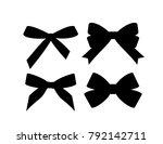 set of decorative black bow... | Shutterstock .eps vector #792142711